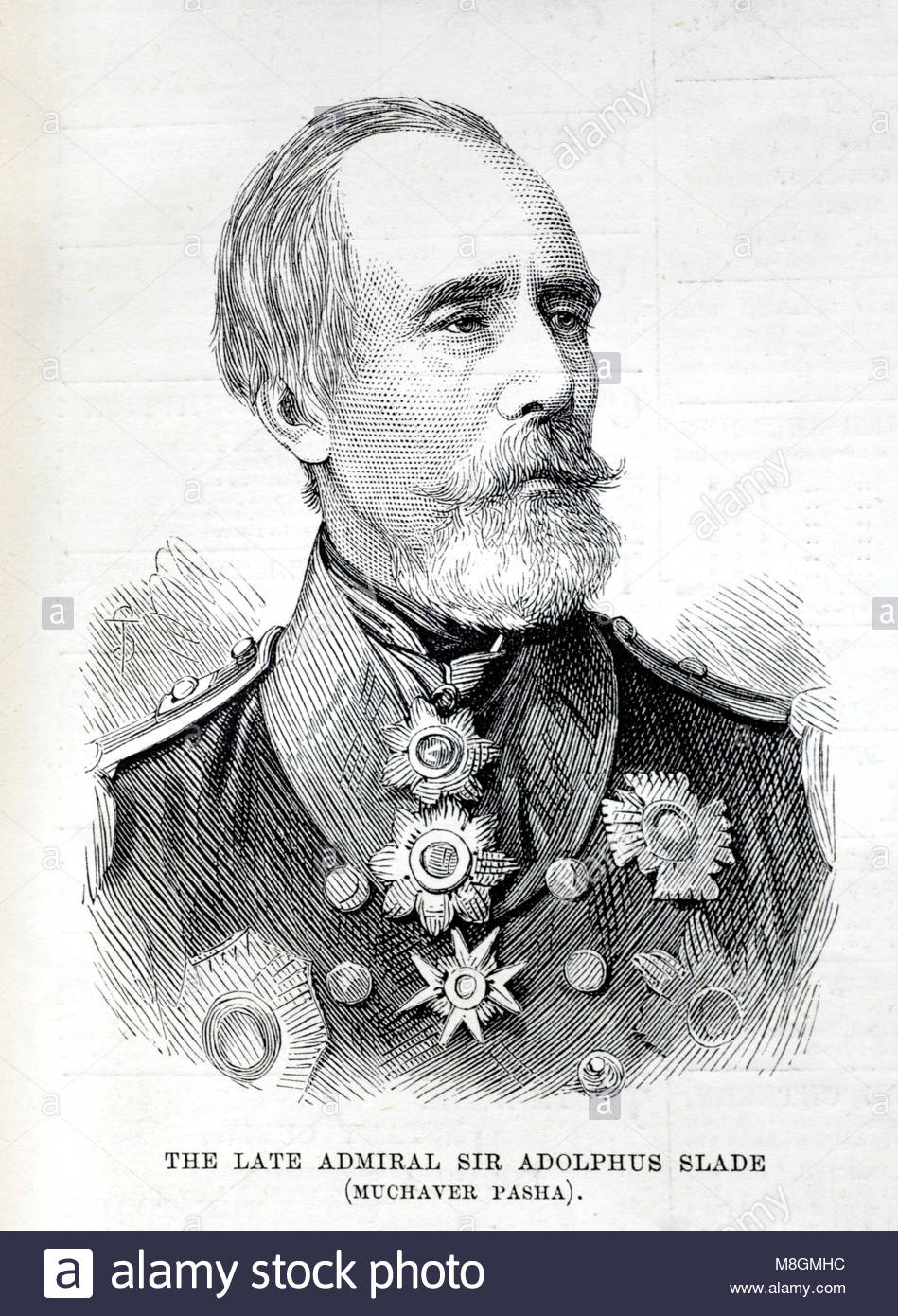 Sir Adolphus Slade 1804 – 1877, was a British Admiral, antique engraving from 1877 - Stock Image