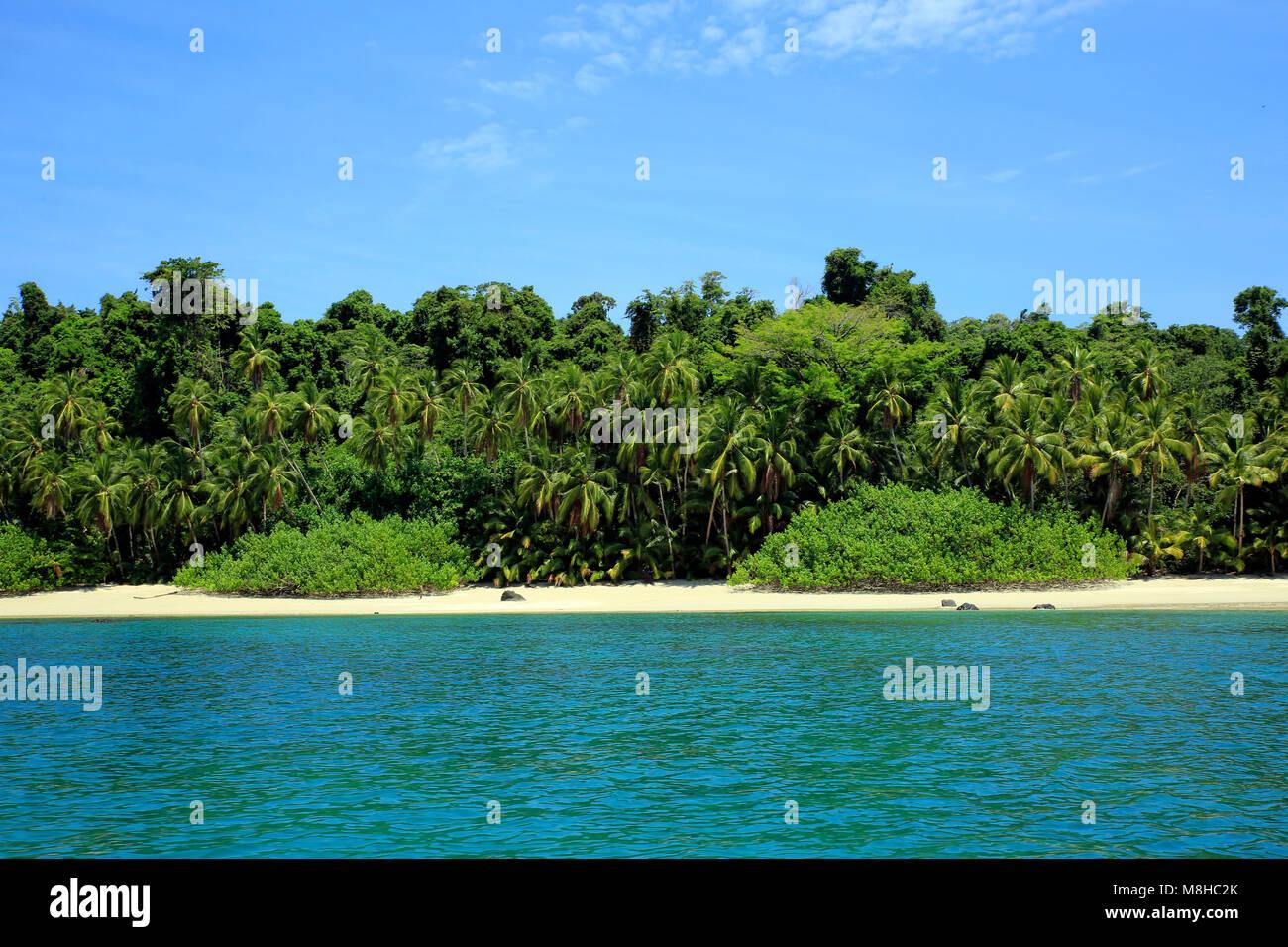 Tropical Beach of Coibita, aka Rancheria. Coiba National Park, Panama - Stock Image