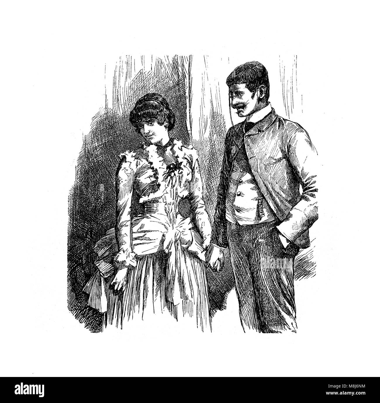 Gentleman courting a shy young woman holding hand, vintage engraving - Stock Image