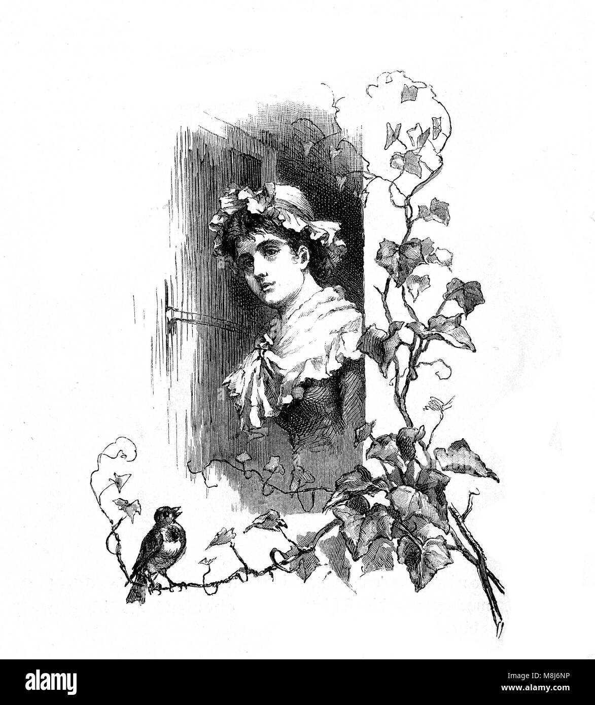 Spring again, lovely girl at the window and a bird chirping, vintage engraving - Stock Image