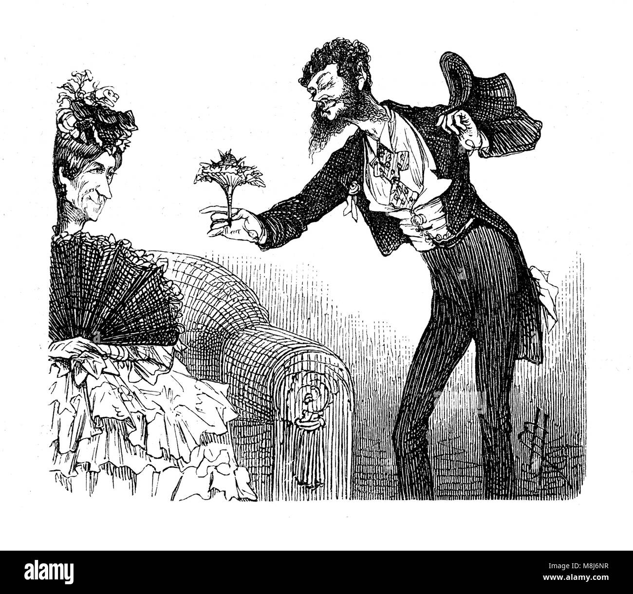 Vintage caricatures and fun: weird gentleman courting an old spinster offering a bouquet of flowers - Stock Image