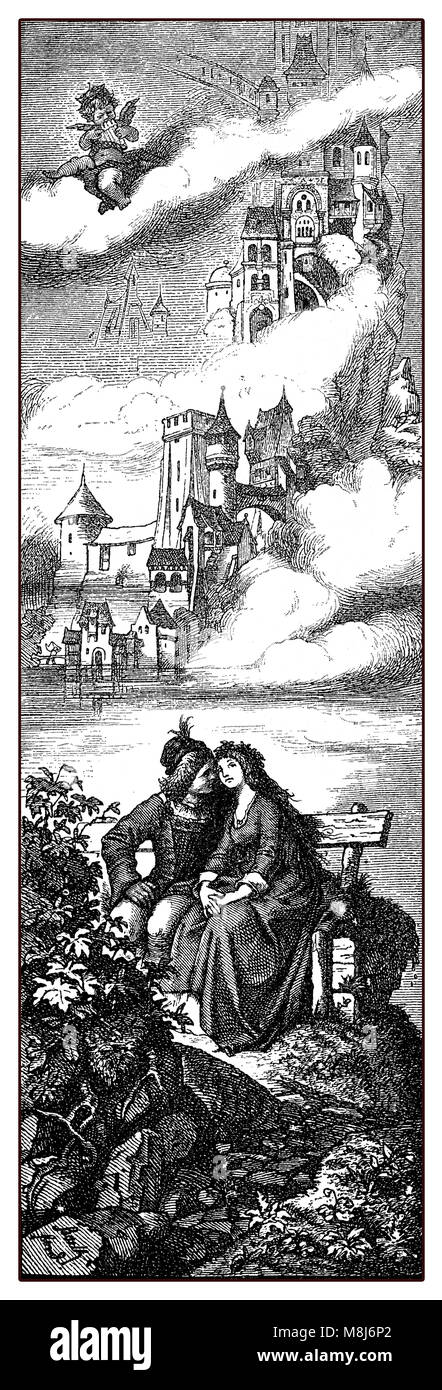 Young lovers sitting embraced, medieval castles and Cupid playing a tune from above, old print - Stock Image