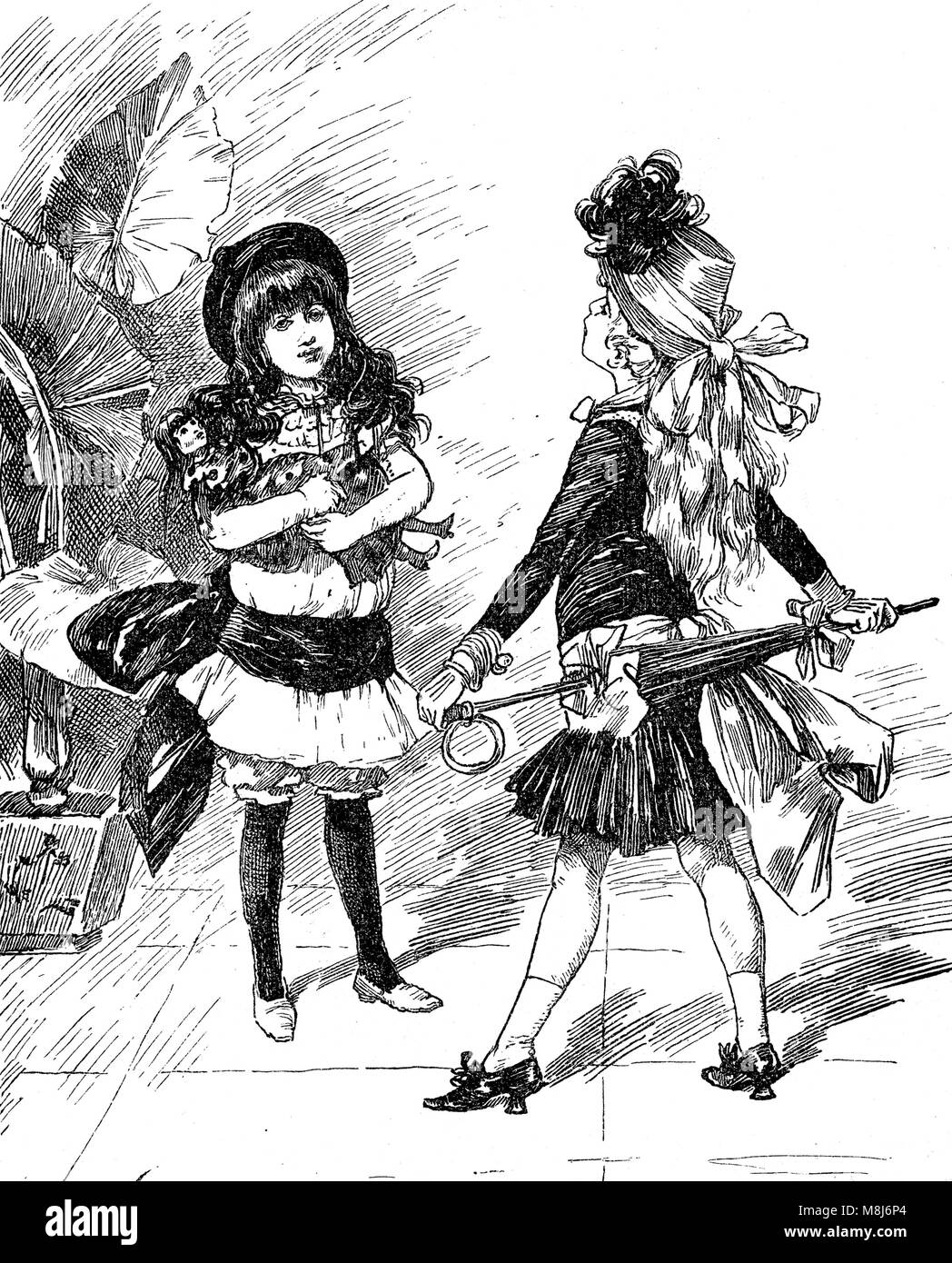 Vintage caricatures and fun: fashionable young girls confronting each other with fancy outfits - Stock Image