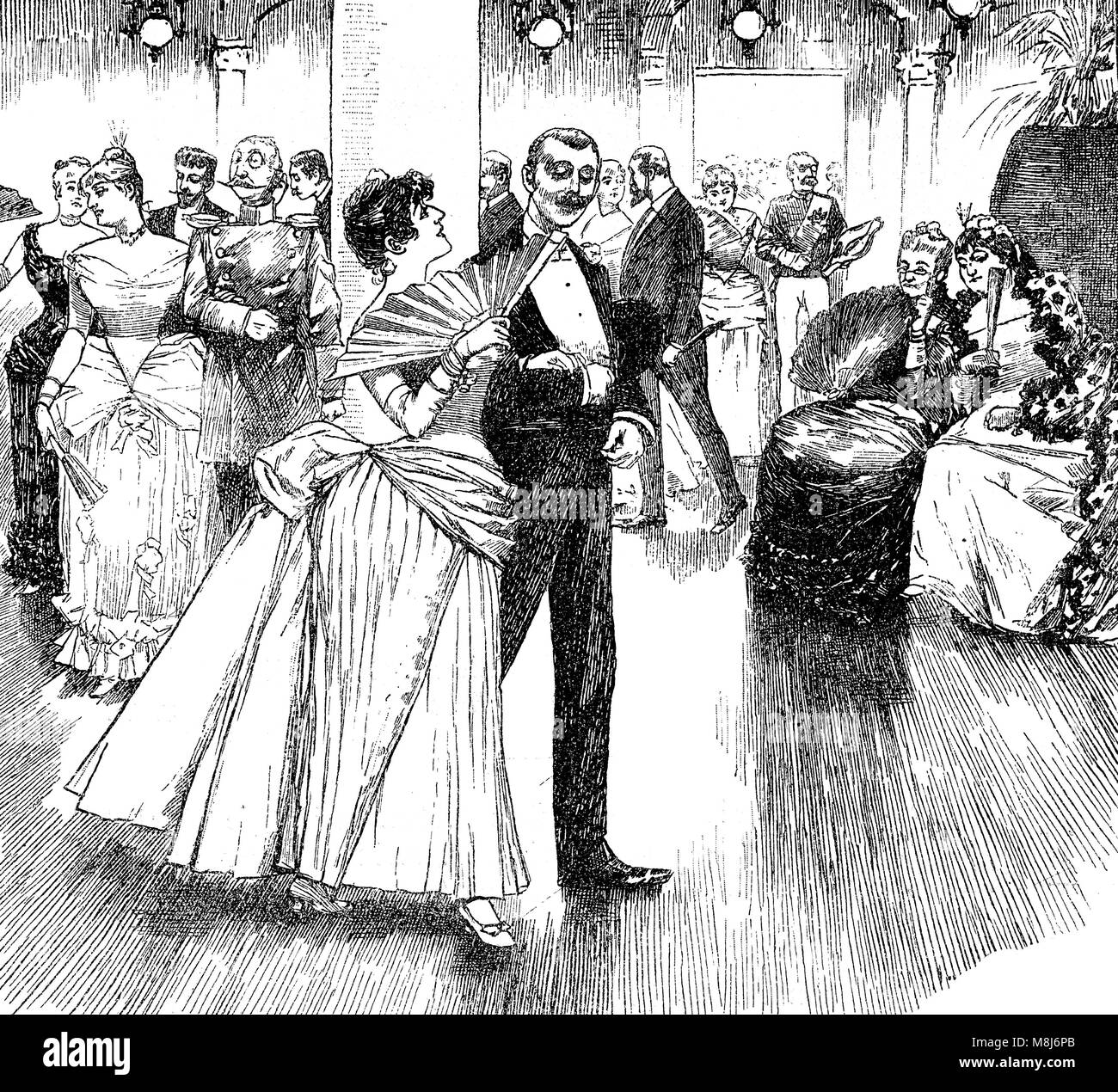 Gentleman flirts with young woman at the ball white two old spinsters look at them with great interest, vintage - Stock Image
