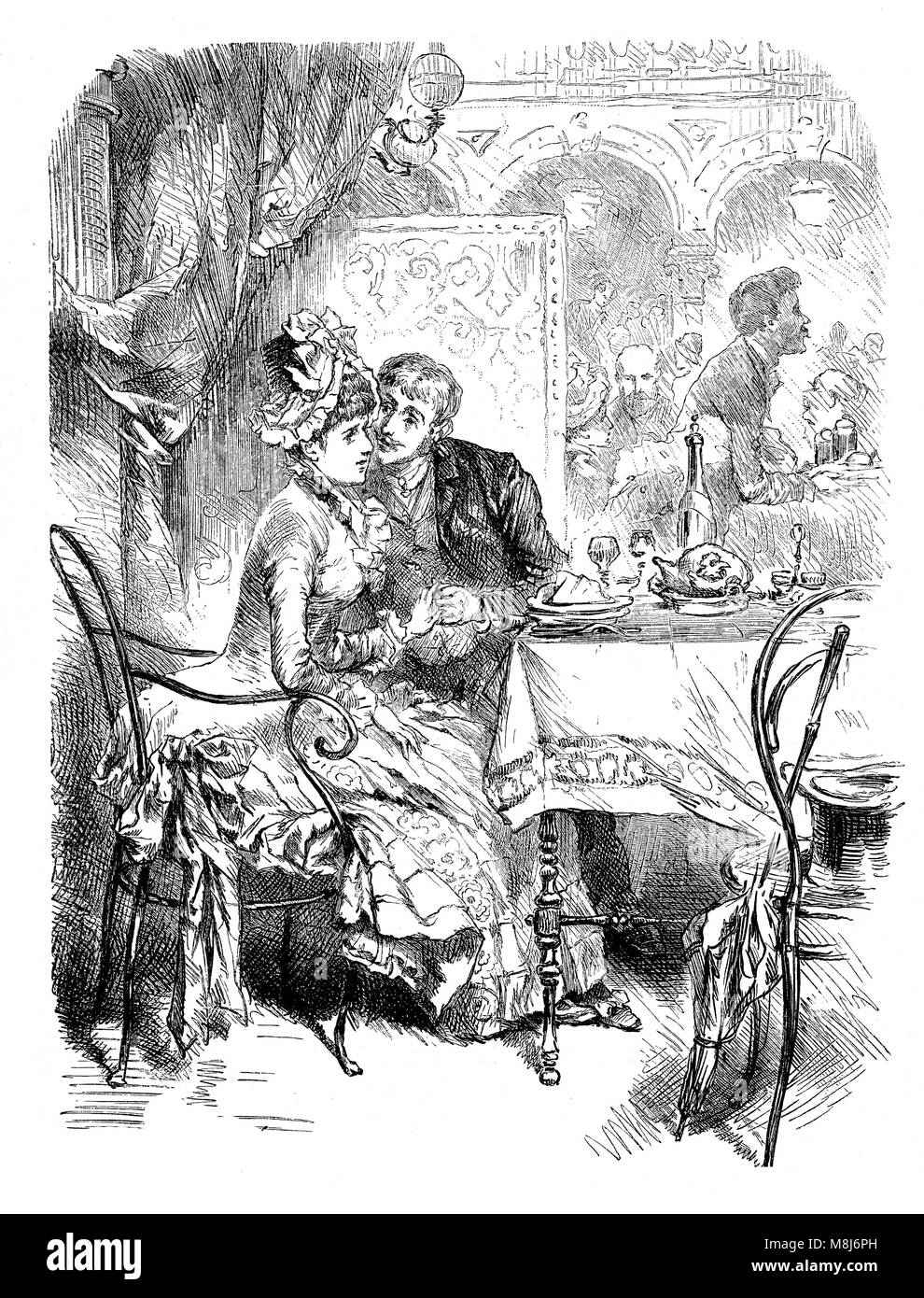 Romance at the restaurant: young man courting a shy girl in a booth, vintage engraving - Stock Image