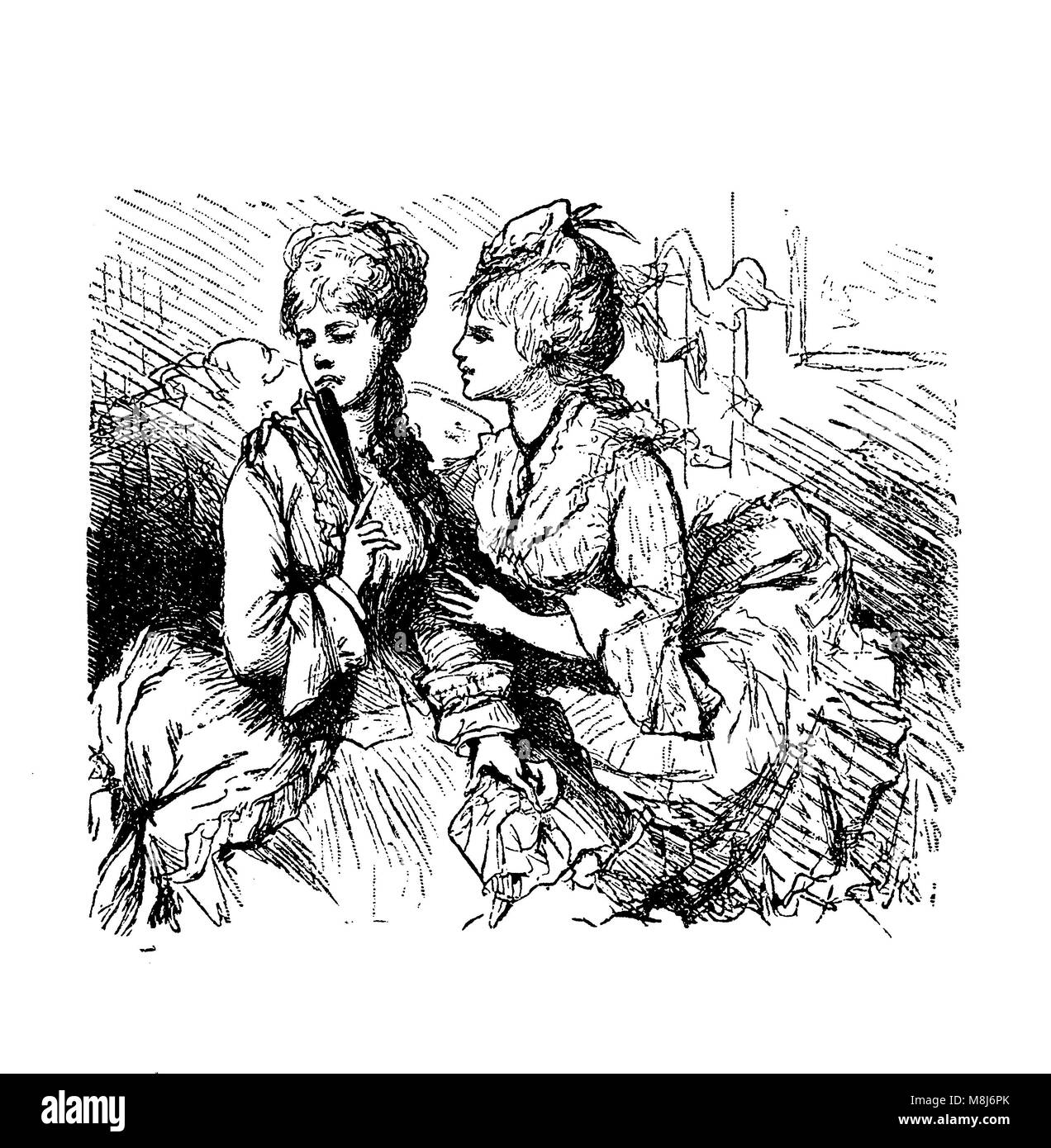Vintage caricatures and fun, two young ladies and the malicious gossip - Stock Image