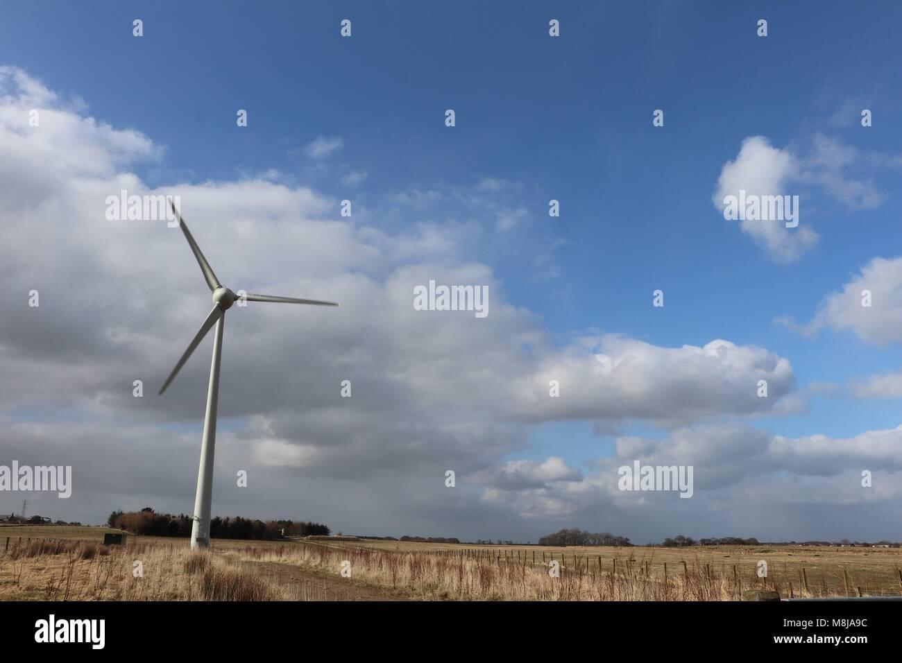 Wind turbines in rural setting, renewable energy, electricity generators, alternative power, environmentally friendly - Stock Image