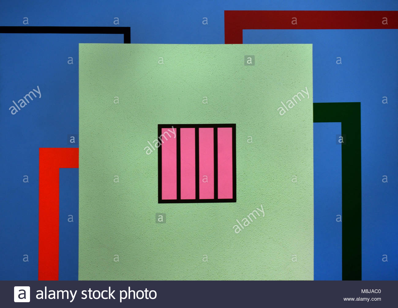 Prison 1989 by  Peter Halley 1953 American, United, States, of, America, USA, - Stock Image