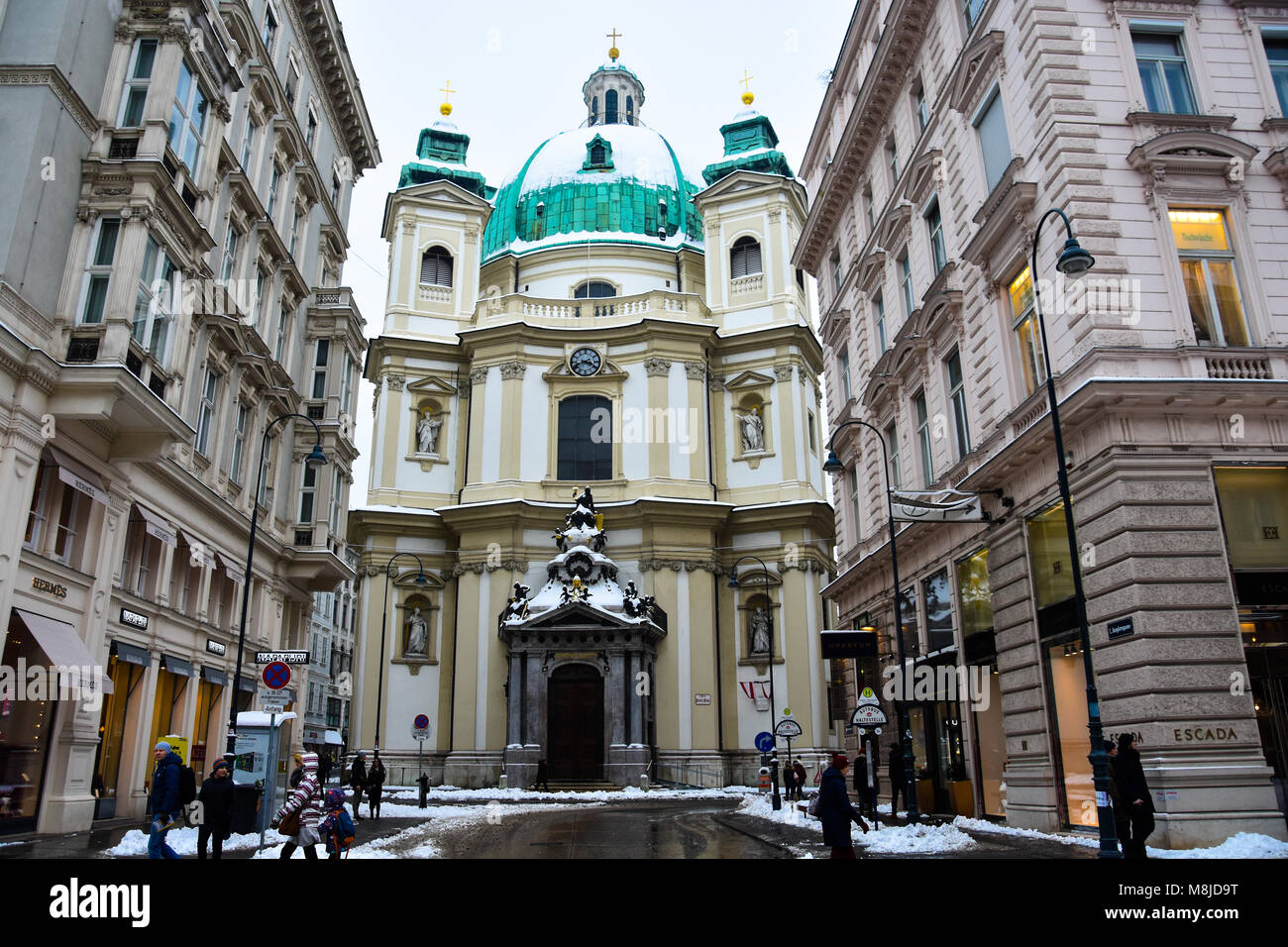 Vienna, Austria. February 1, 2017. View of Peterskirche (St. Peter's Church), a Baroque Roman Catholic parish - Stock Image