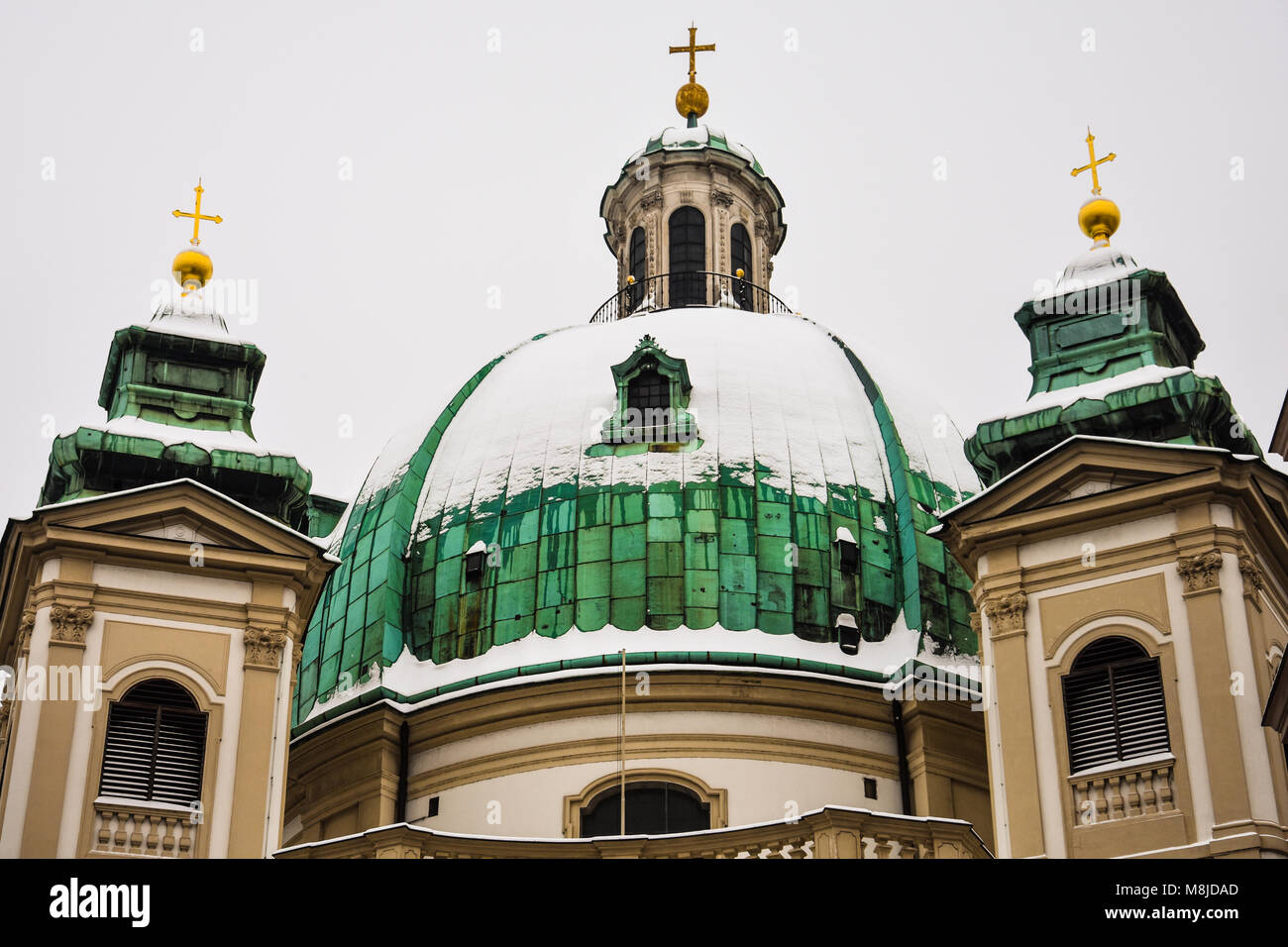 Vienna, Austria. February 1, 2017. Dome of Peterskirche (St. Peter's Church), a Baroque Roman Catholic parish - Stock Image
