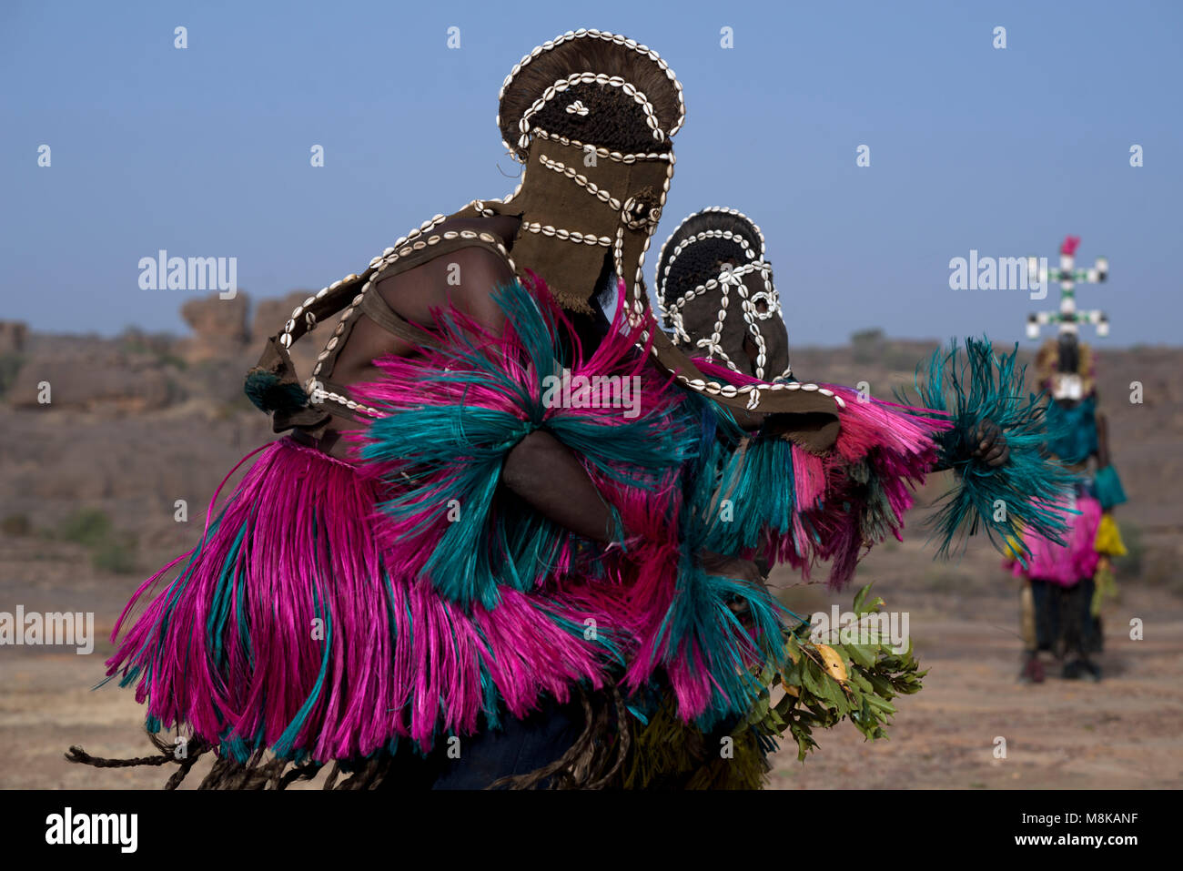 Masked Dogon dancers wave leaves while perdorming a ritualistic tribal dance. Mali, West Africa. - Stock Image