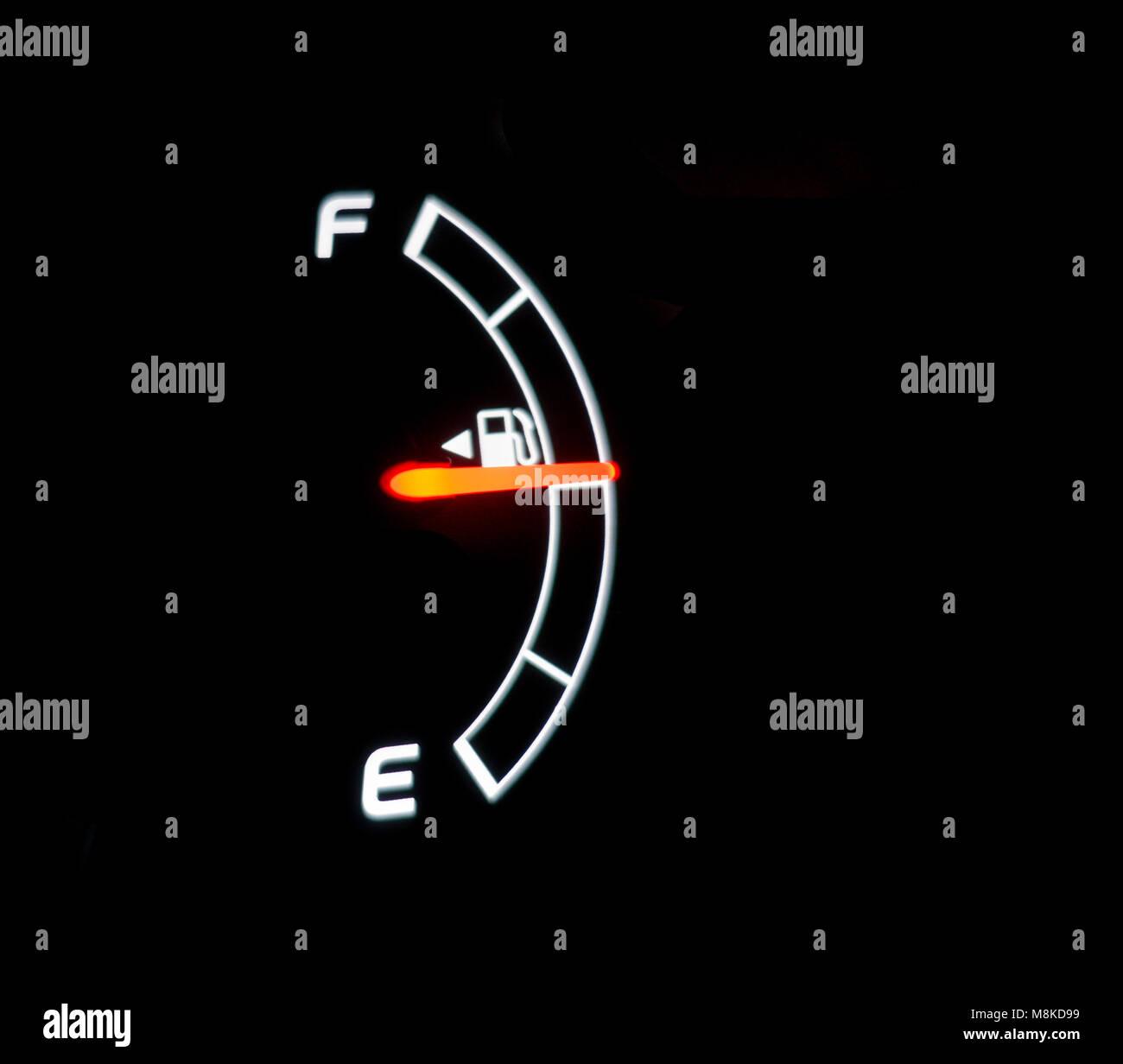 Half Full, Half Empty. Fuel Gauge, - Stock Image