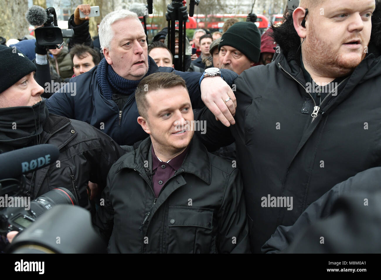 London, United Kingdom. 18 March 2018. Stephen Lennon, known by the pseudonym Tommy Robinson, makes a speech at - Stock Image