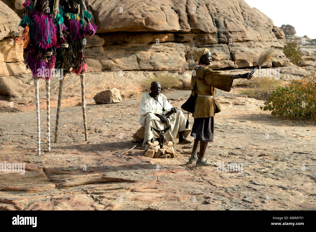 The final act of a traditional, ritual Dogon masked dance ceremony. Dogon country, Mali, West Africa. - Stock Image