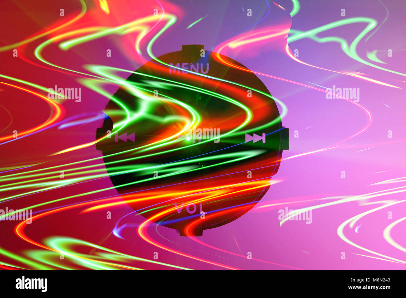 An abstract image of musical controls in colorful waving dance lights - Stock Image