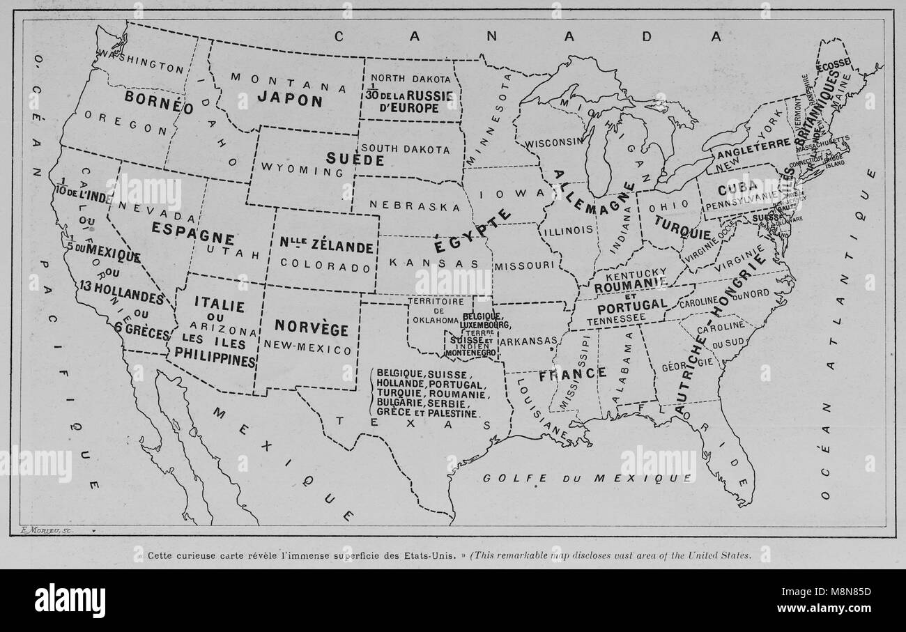 Map of the USA in 1900 comparing the country with other countries of Europe, Africa and Asia, Picture from the French - Stock Image