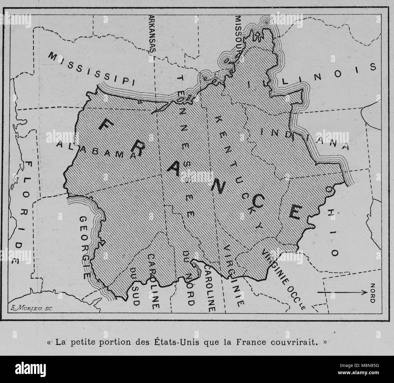 Map of the USA in 1900 comparing the country with France, Picture from the French weekly newspaper l'Illustration, - Stock Image