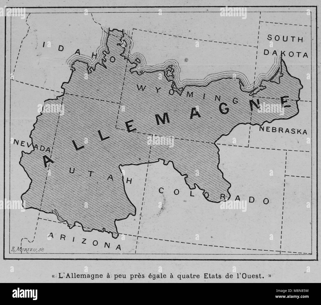 Map of the USA in 1900 comparing the country with Germany, Picture from the French weekly newspaper l'Illustration, - Stock Image