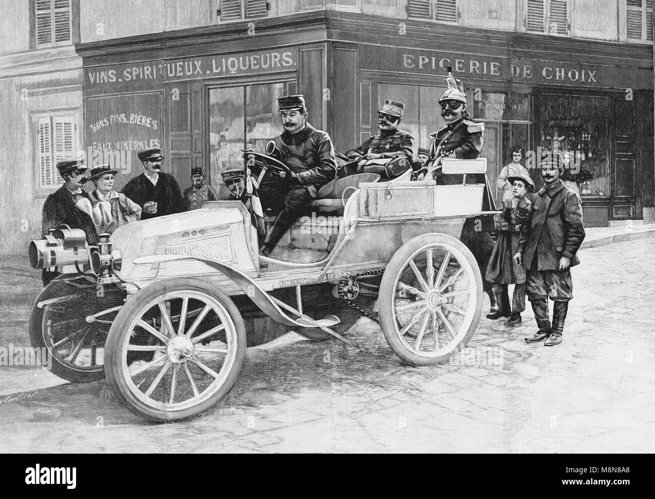 Car of the General de Negrier during the 1900 French military exercise, Picture from the French weekly newspaper - Stock Image