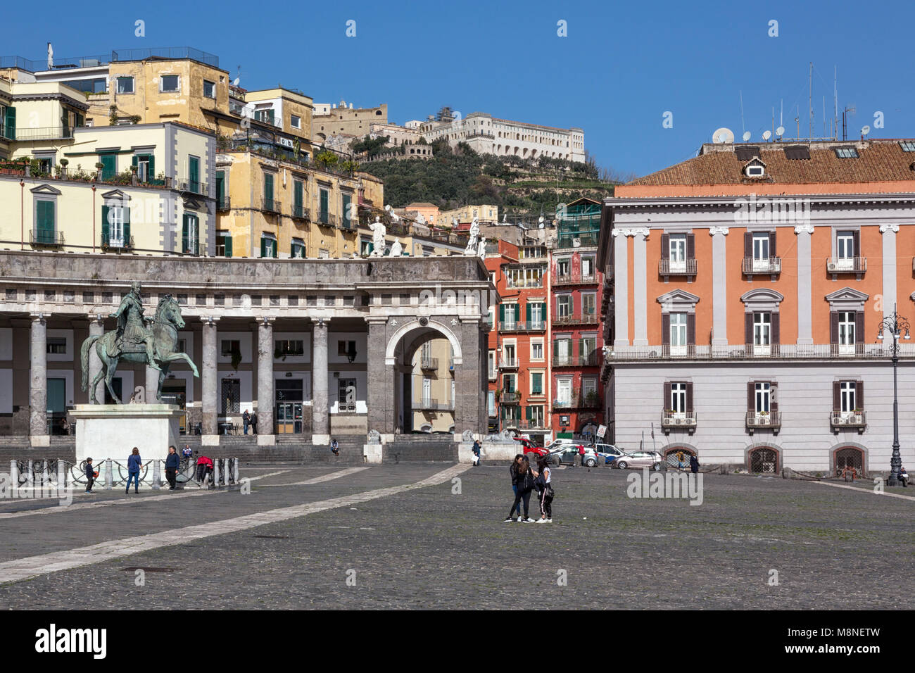 Naples (Italy) - Piazza Plebiscito, the main square in the historic centre of Naples. Prefecture Palace and the - Stock Image