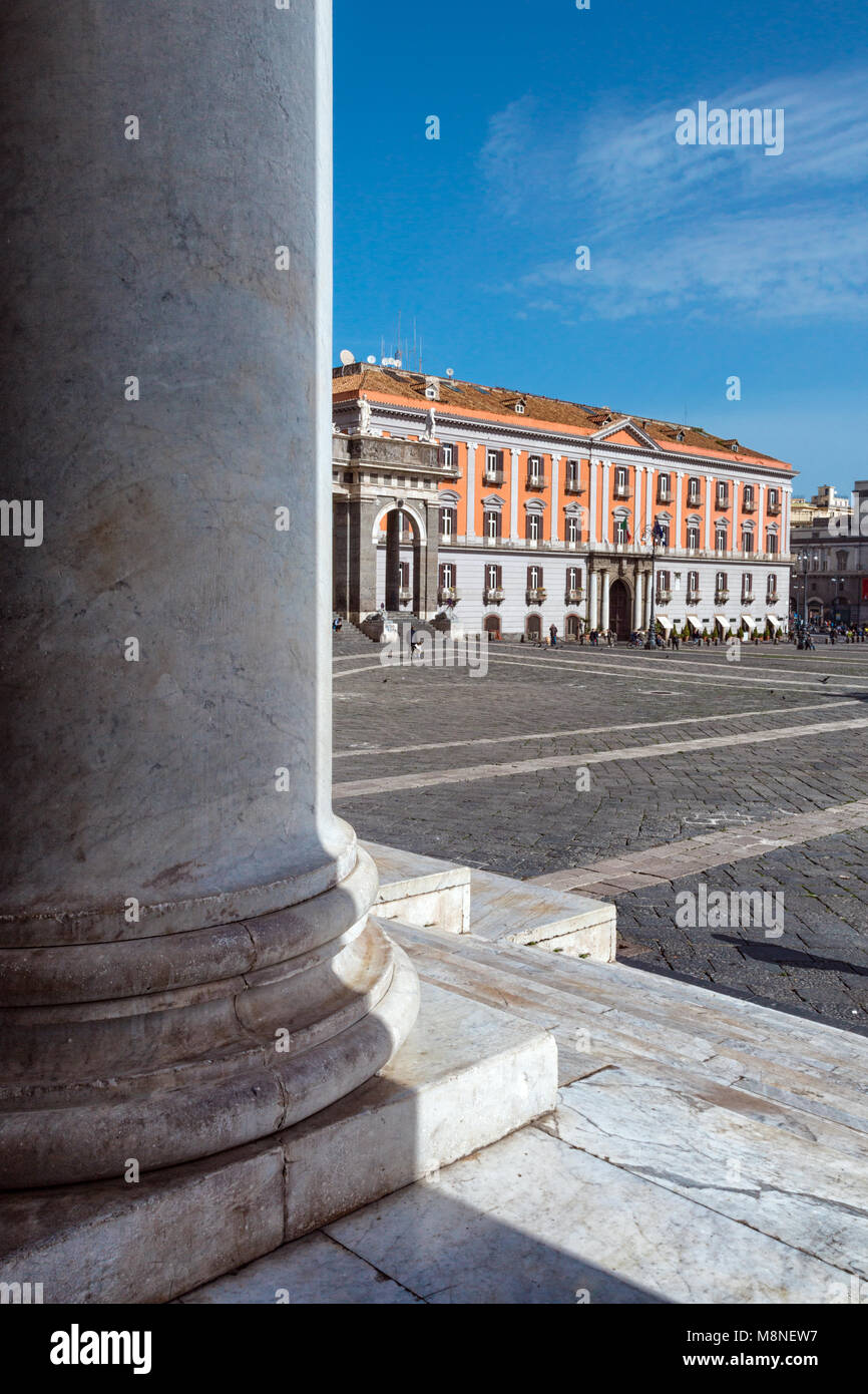 Naples (Italy) - Piazza Plebiscito, the main square in the historic centre of Naples. Prefecture Palace seen by - Stock Image