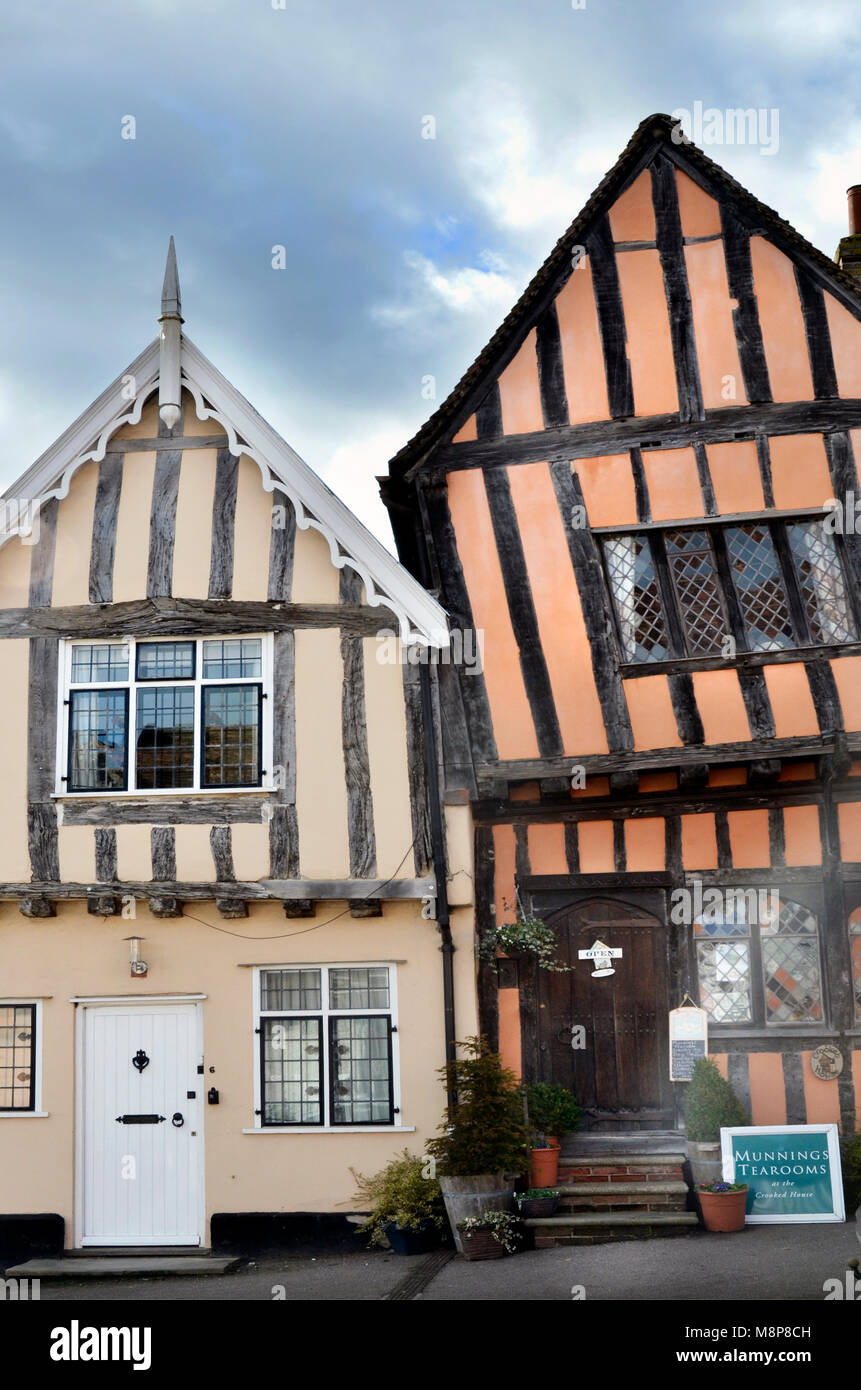the crooked house timber framed tudor house lavenham suffolk england - Stock Image