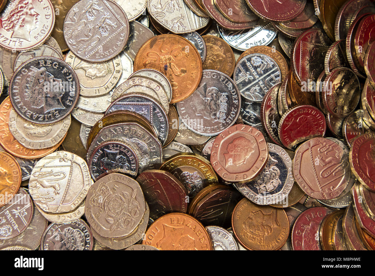 collection of 1p,2p,5p,10p,20,50p and £1 coins Stock Photo
