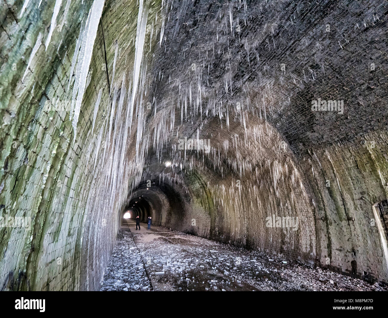 Tissington Trail railway walk, Peak District National Park, UK. 19th March, 2018. UK Weather: thawing icicles up - Stock Image