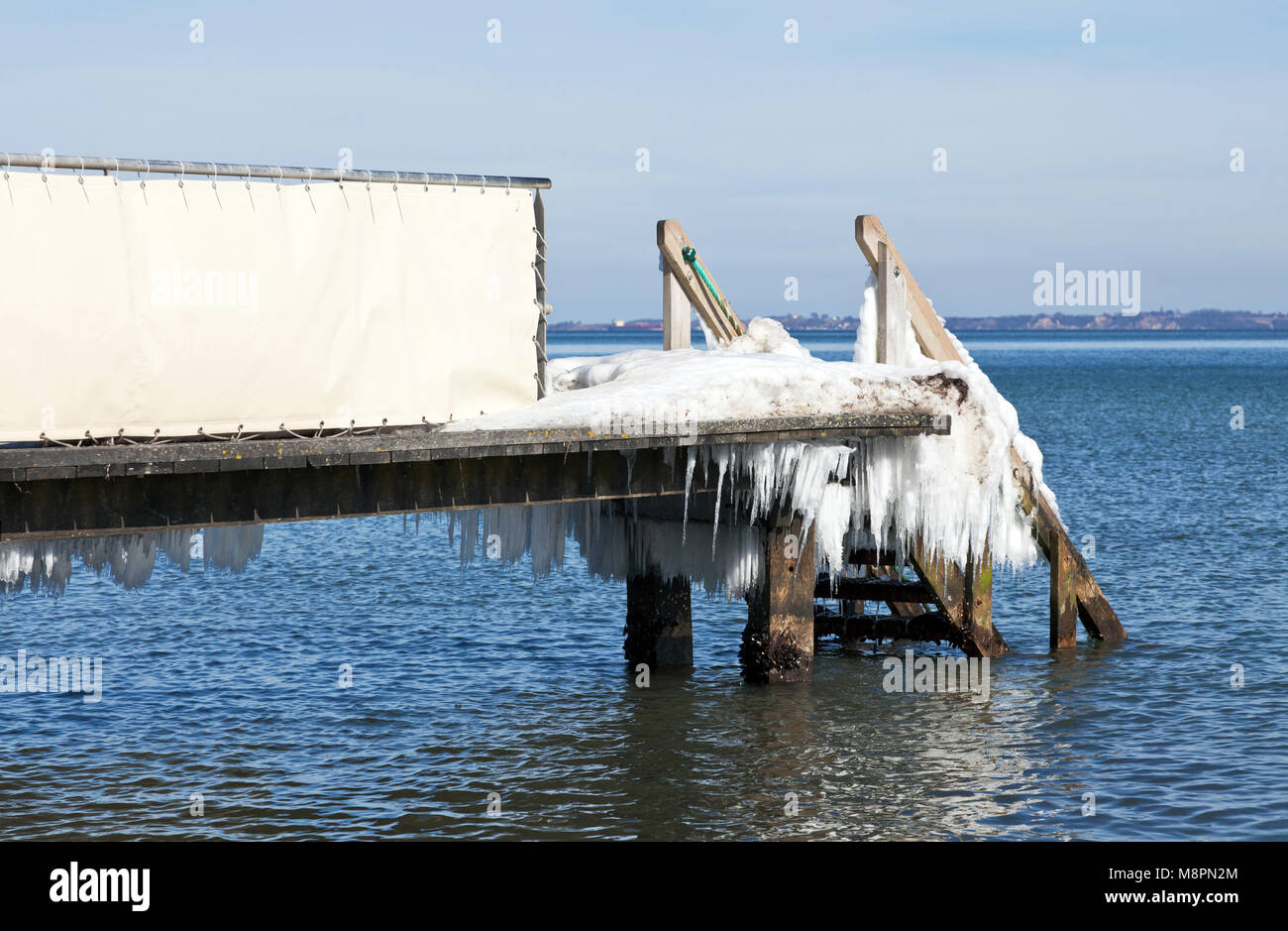 Melting ice formations and icicles on a bathing jetty at Skodsborg after a long cold spell of night and day frost - Stock Image