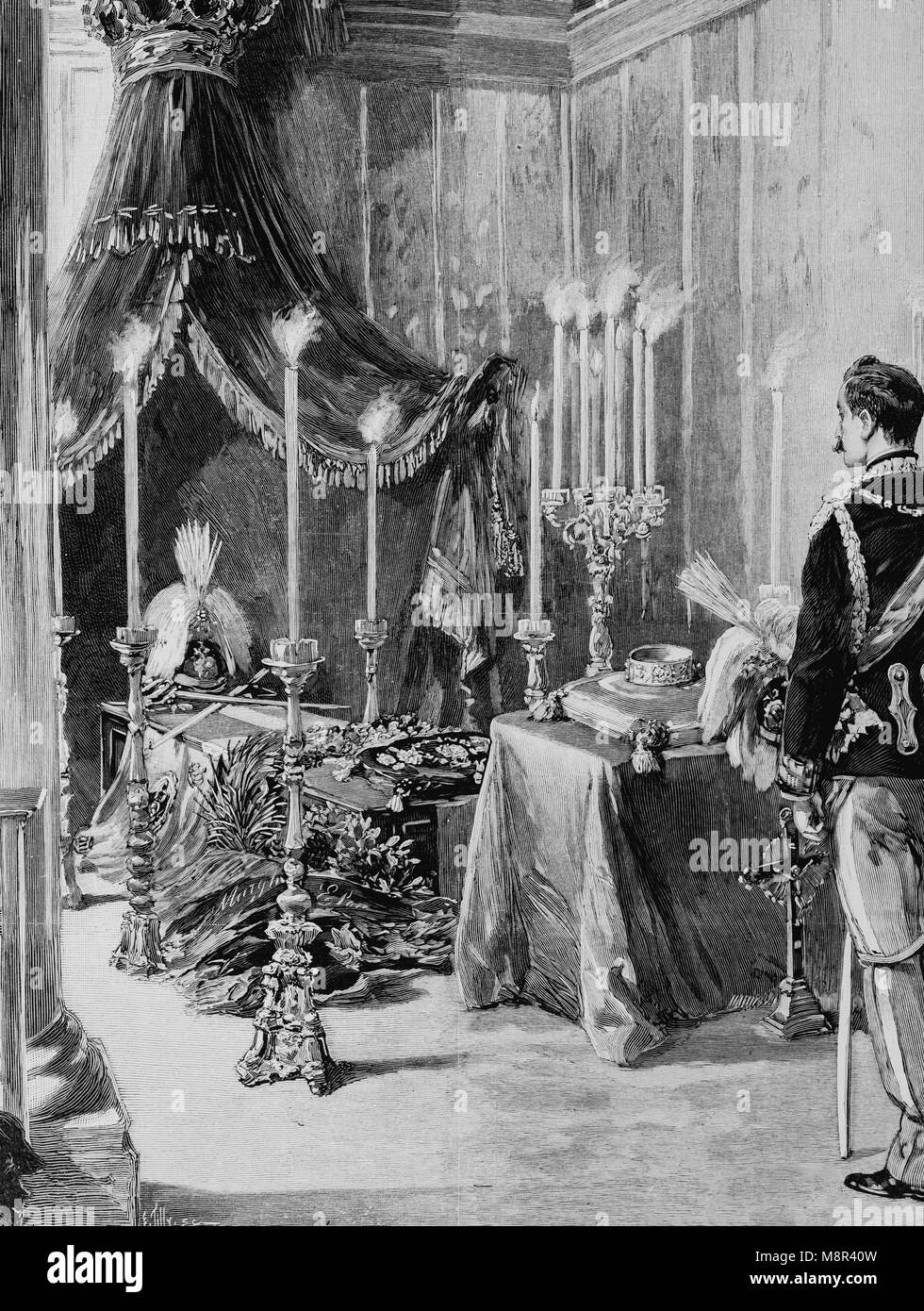 Coffin of King Humberto I guarded by the Aosta Duke in the Monza Castle, Picture from the French weekly newspaper - Stock Image