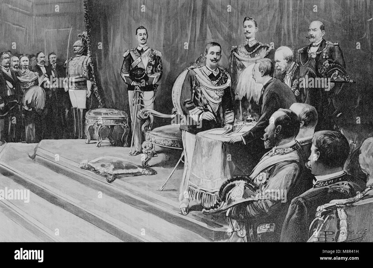 King Victor Emmanuel III of Italy during his coronation, Picture from the French weekly newspaper l'Illustration, - Stock Image