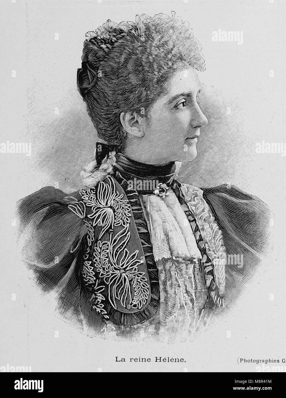 Queen Elena of Montenegro, the wife of King Victor Emmanuel III of Italy, Picture from the French weekly newspaper - Stock Image