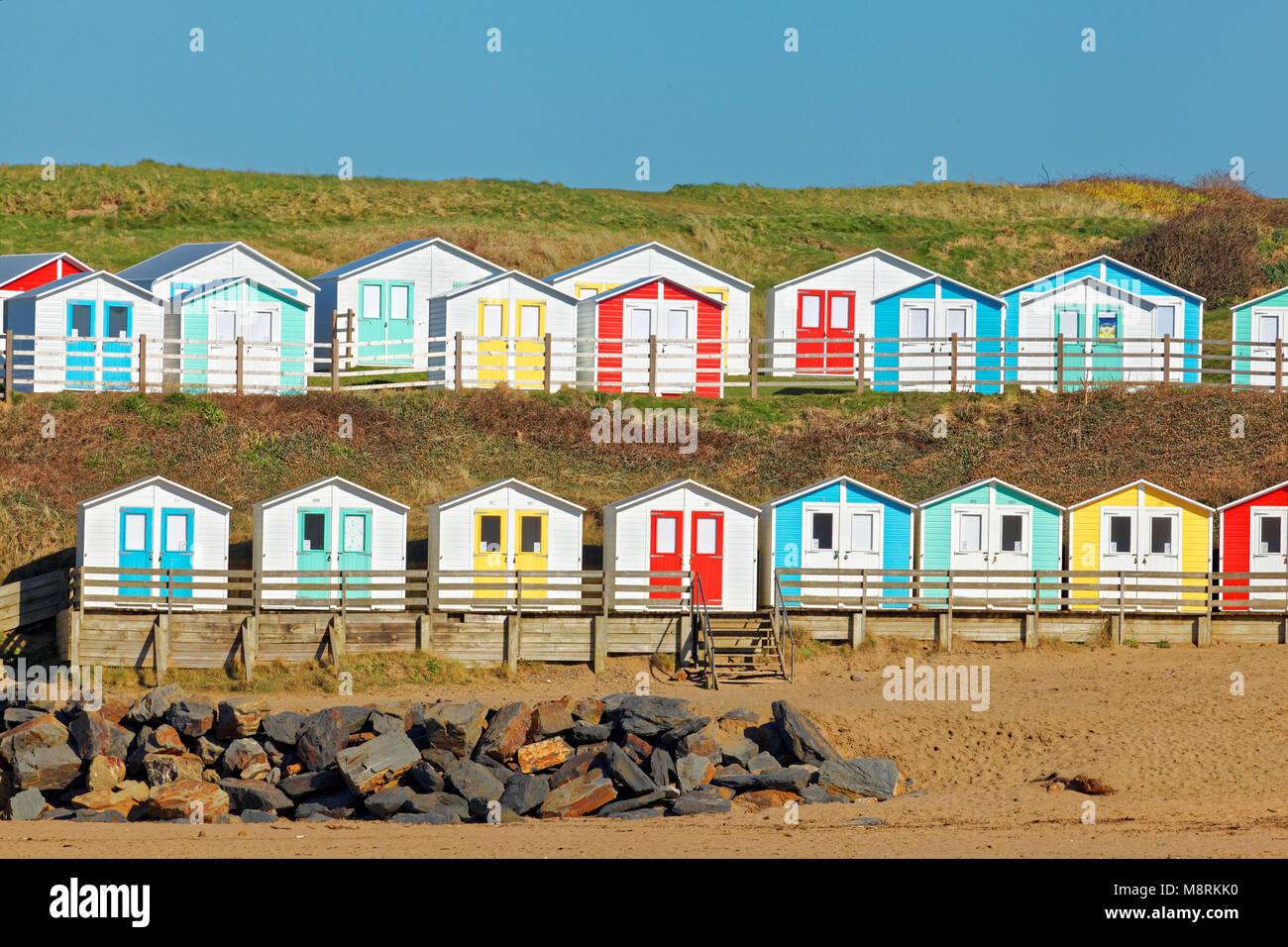 Beach Huts, Summerleaze Beach, Bude, Cornwall, UK - Stock Image