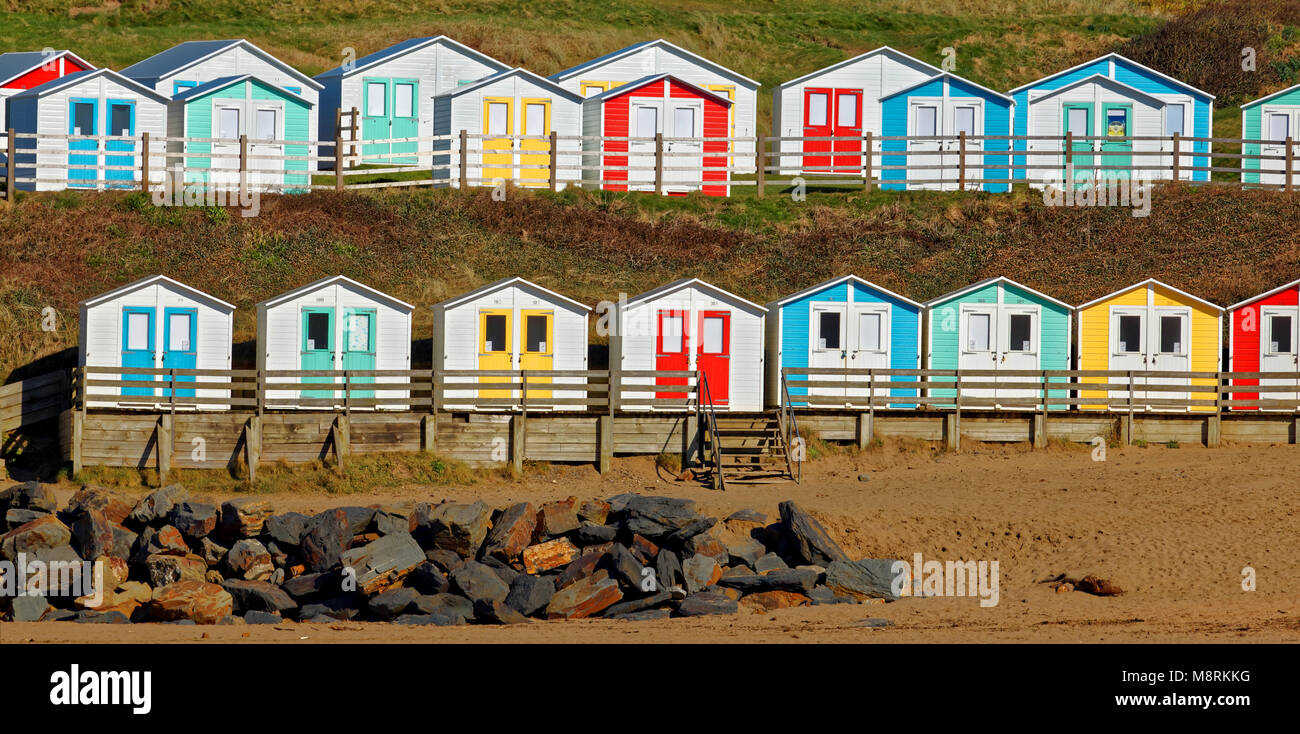 Panoramic shot of Beach Huts, Summerleaze Beach, Bude, Cornwall, UK - Stock Image