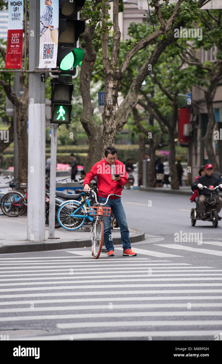 Man checking his mobile phone while waiting with his bike to cross a road in Shanghai, China - Stock Image