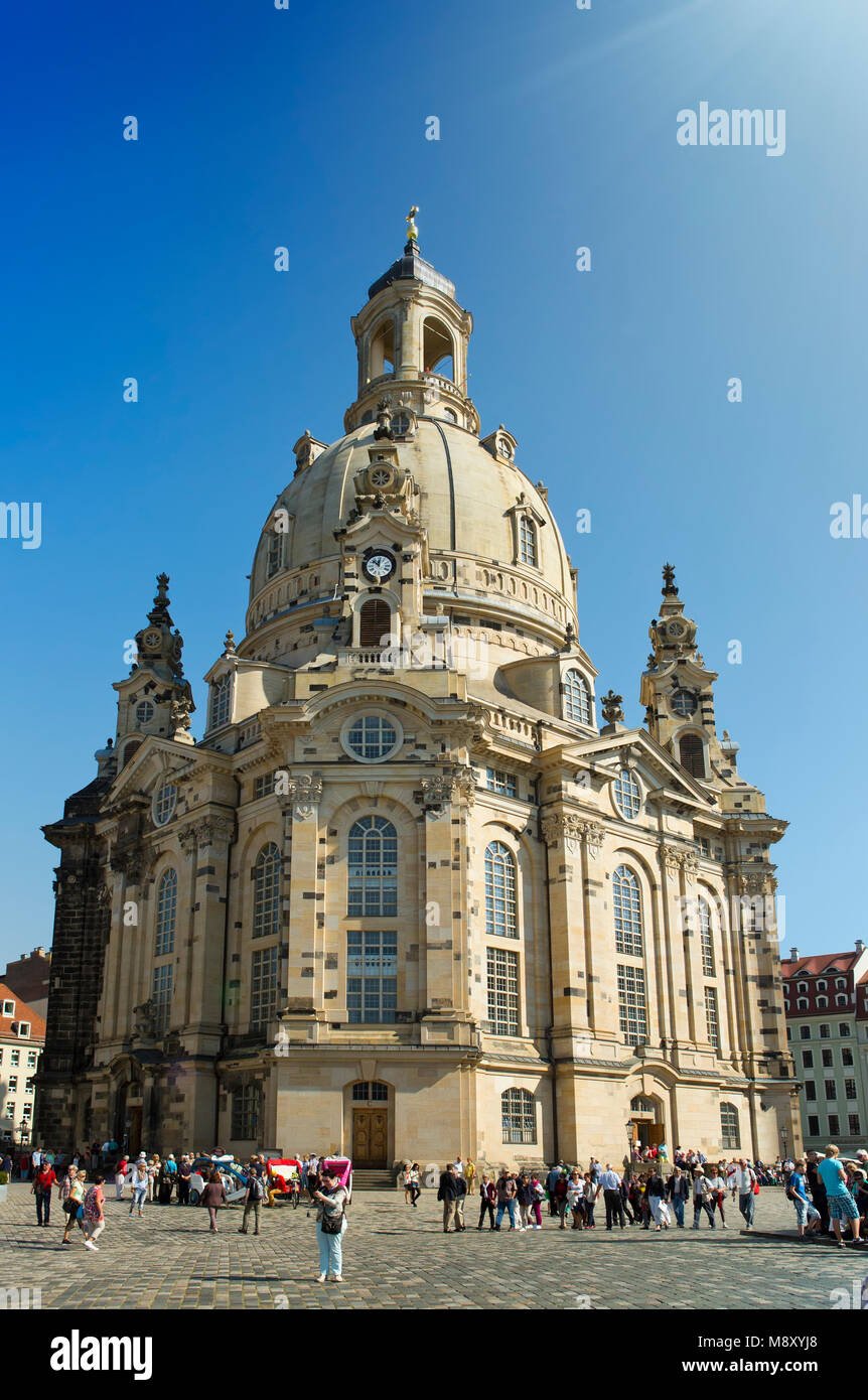 DRESDEN, GERMANY - SEPTEMBER 17, 2014: People walk in the center of Old town, near Frauenkirche (Our Lady church) - Stock Image