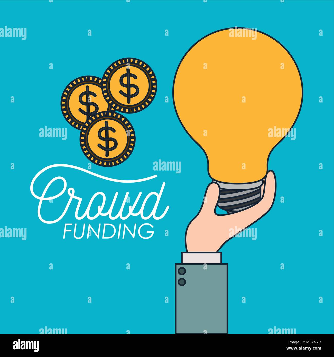 crowd funding poster of hand with big light bulb and coins in blue background - Stock Image