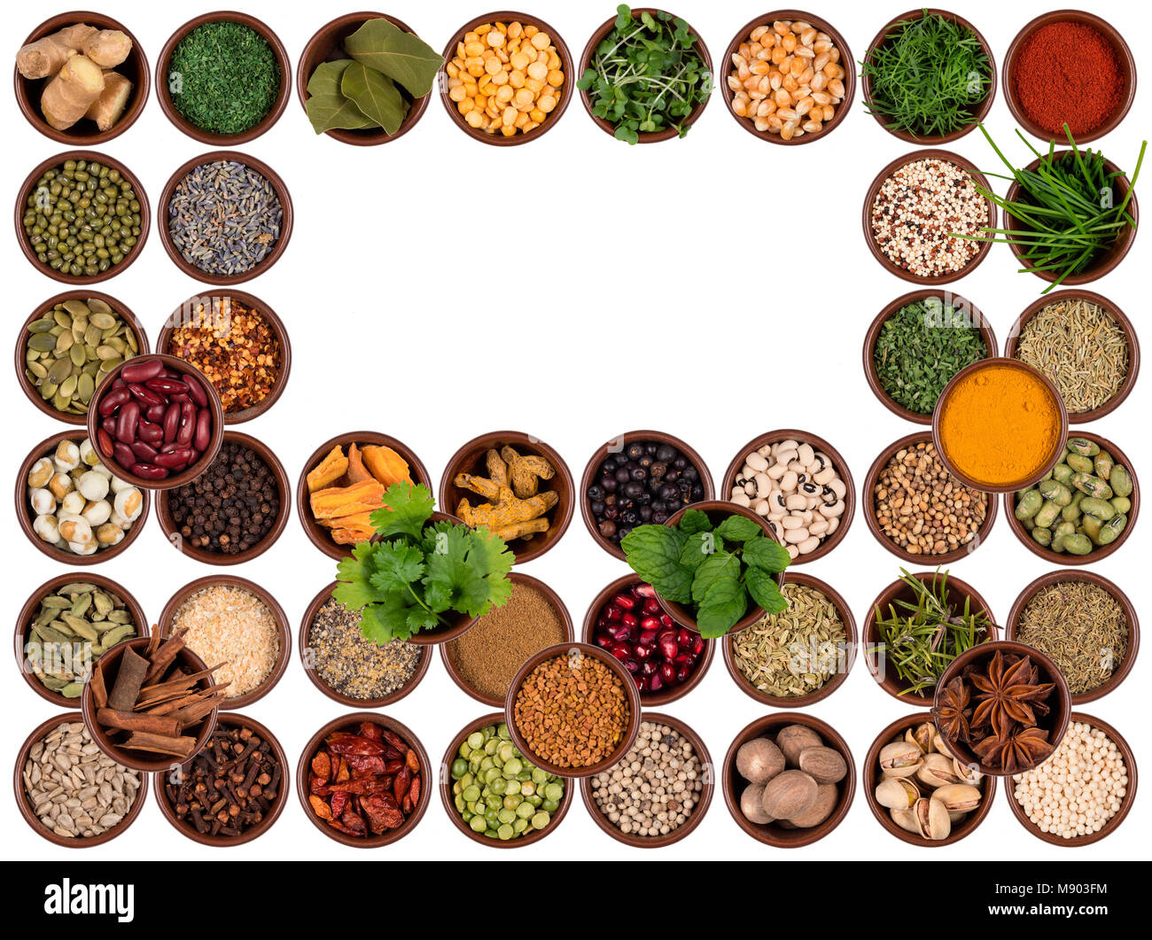Selection of cooking ingredients to add flavor and seasoning - Space for text. - Stock Image