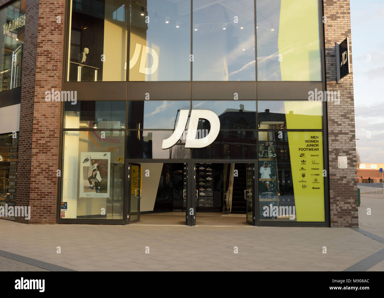 72e338b3886fe JD sports retailer shop front and entrance at the rock triangle mixed  retail leisure and residential development in bury lancashire uk