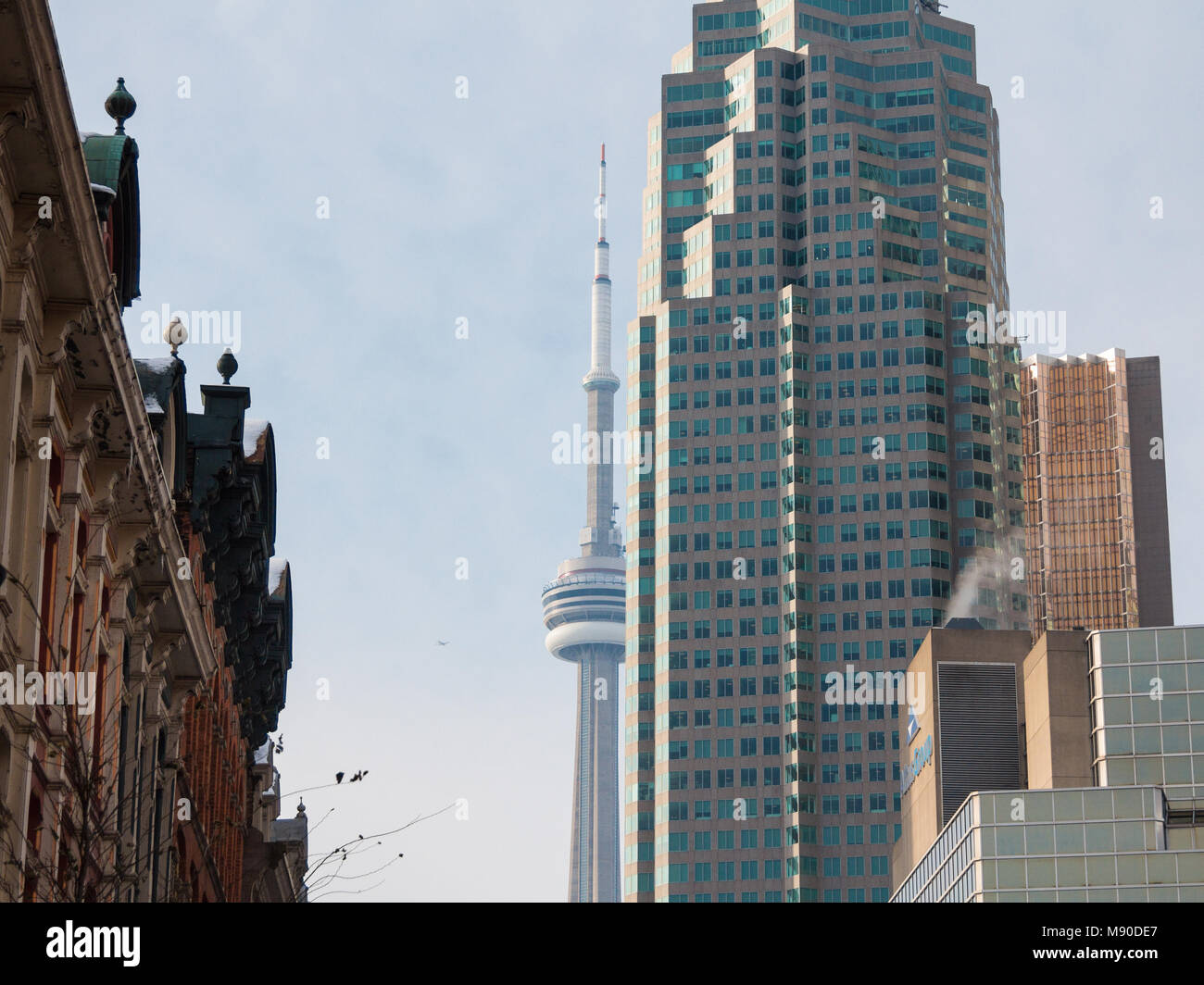 TORONTO, CANADA - DECEMBER 21, 2016: Canadian National Tower (CN Tower) surrounded by more modern buildings in downtown - Stock Image