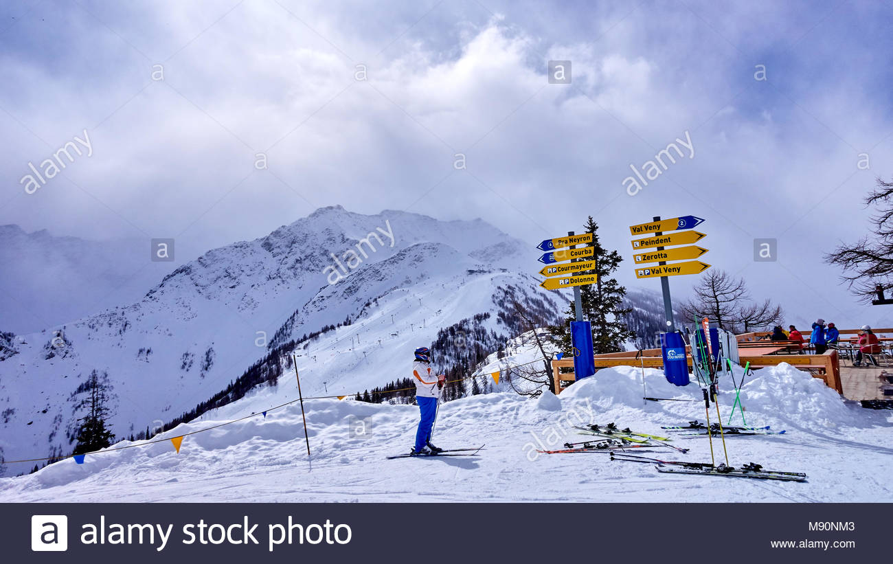 courmayeur, italy - march 7, 2018: ski areas on 7 march 2018 in