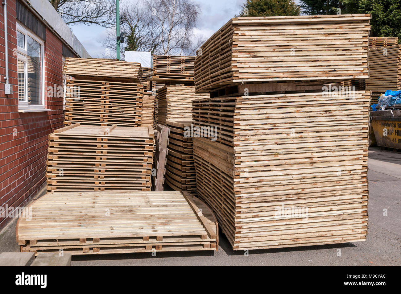 Piles of wooden fencing. - Stock Image