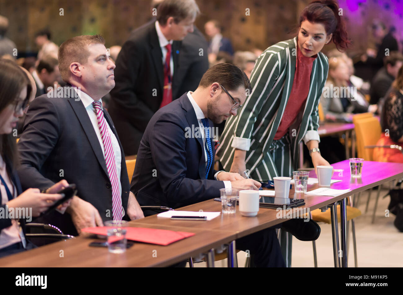 Stockholm, Sweden, March 17, 2018. Sweden Democrats (SD) Election Conference 2018. Political Secretary, Mikael Eriksson, Party Leader Jimmie Akesson,  - Stock Image