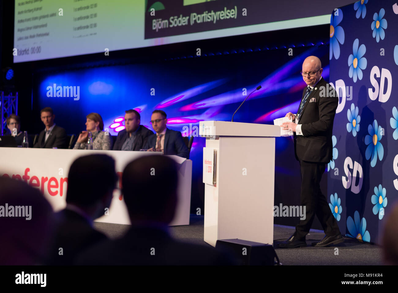 Stockholm, Sweden, March 17, 2018. Sweden Democrats (SD) Election Bjorn Soder (SD), Conference 2018. Second Deputy Speaker Swedish Parliament and MP. - Stock Image