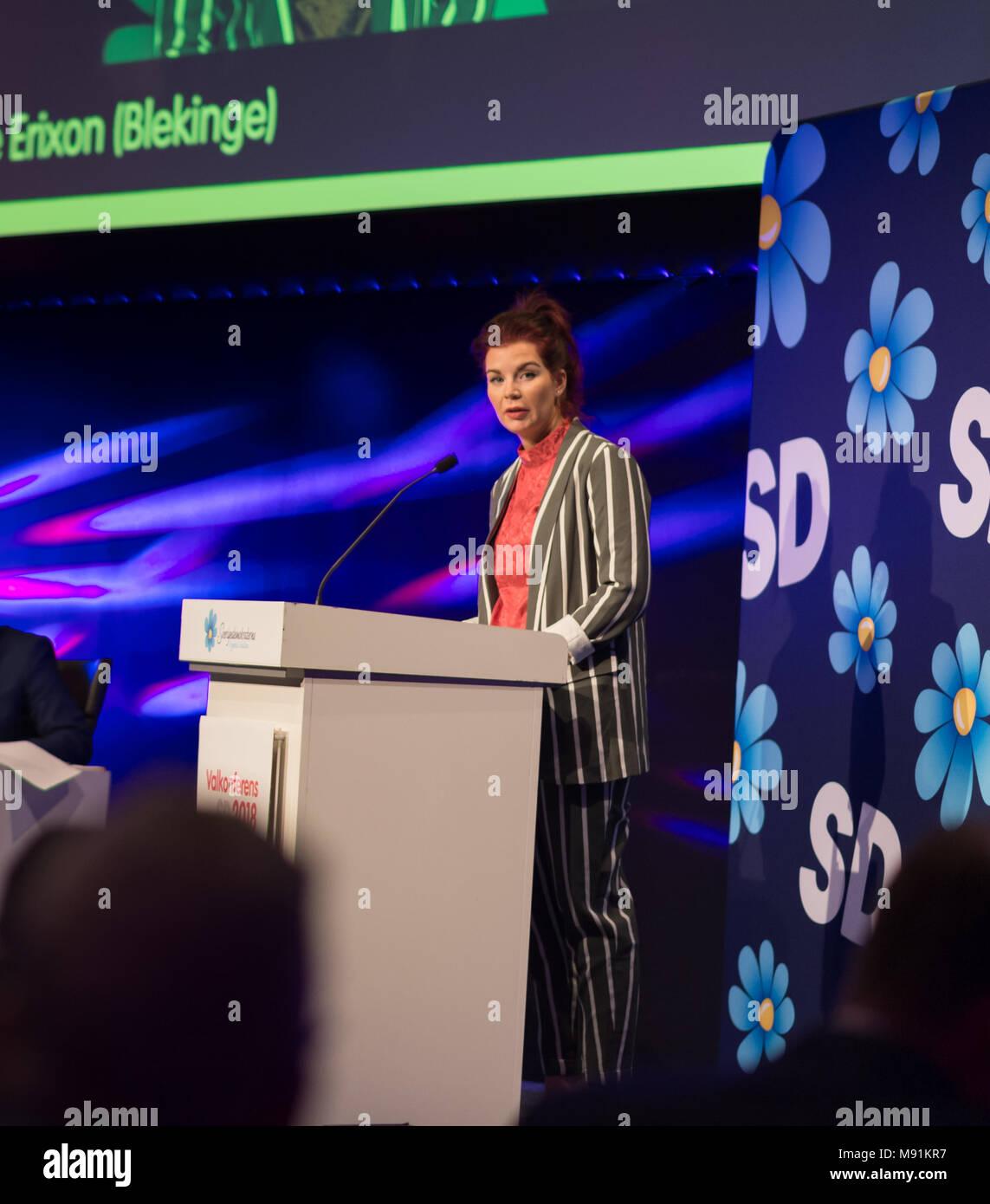 Stockholm, Sweden, March 17, 2018. Sweden Democrats (SD) Election Conference 2018. Louise Erixon, Group Leader Solvesborg. - Stock Image