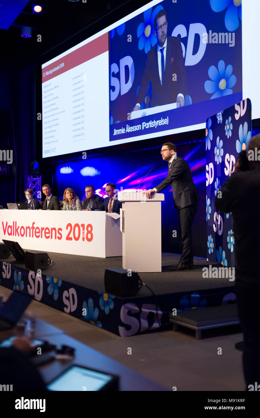 Stockholm, Sweden, March 17, 2018. Sweden Democrats (SD) Election Conference 2018. Jimmie Akesson, Party Leader. - Stock Image