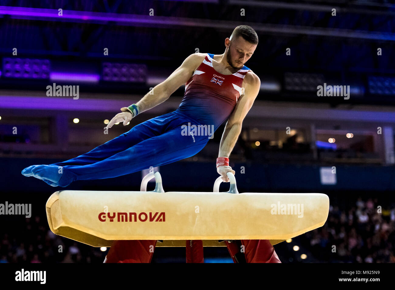 Birmingham, UK. 21st March, 2018. Dominick Gunnigham (GBR) competes on the Pommel Horse  during the 2018 FIG Gymnastics World Cup at Arena Birmingham on Wednesday, 21 March 2018. Birmingham England. Credit: Taka Wu/Alamy Live News - Stock Image