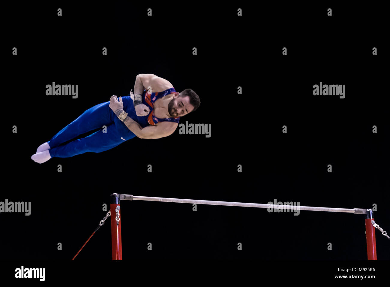 Birmingham, UK. 21st March, 2018. James Hall (GBR) competes on the Horizontal Bar during the 2018 FIG Gymnastics World Cup at Arena Birmingham on Wednesday, 21 March 2018. Birmingham England. Credit: Taka Wu/Alamy Live News - Stock Image