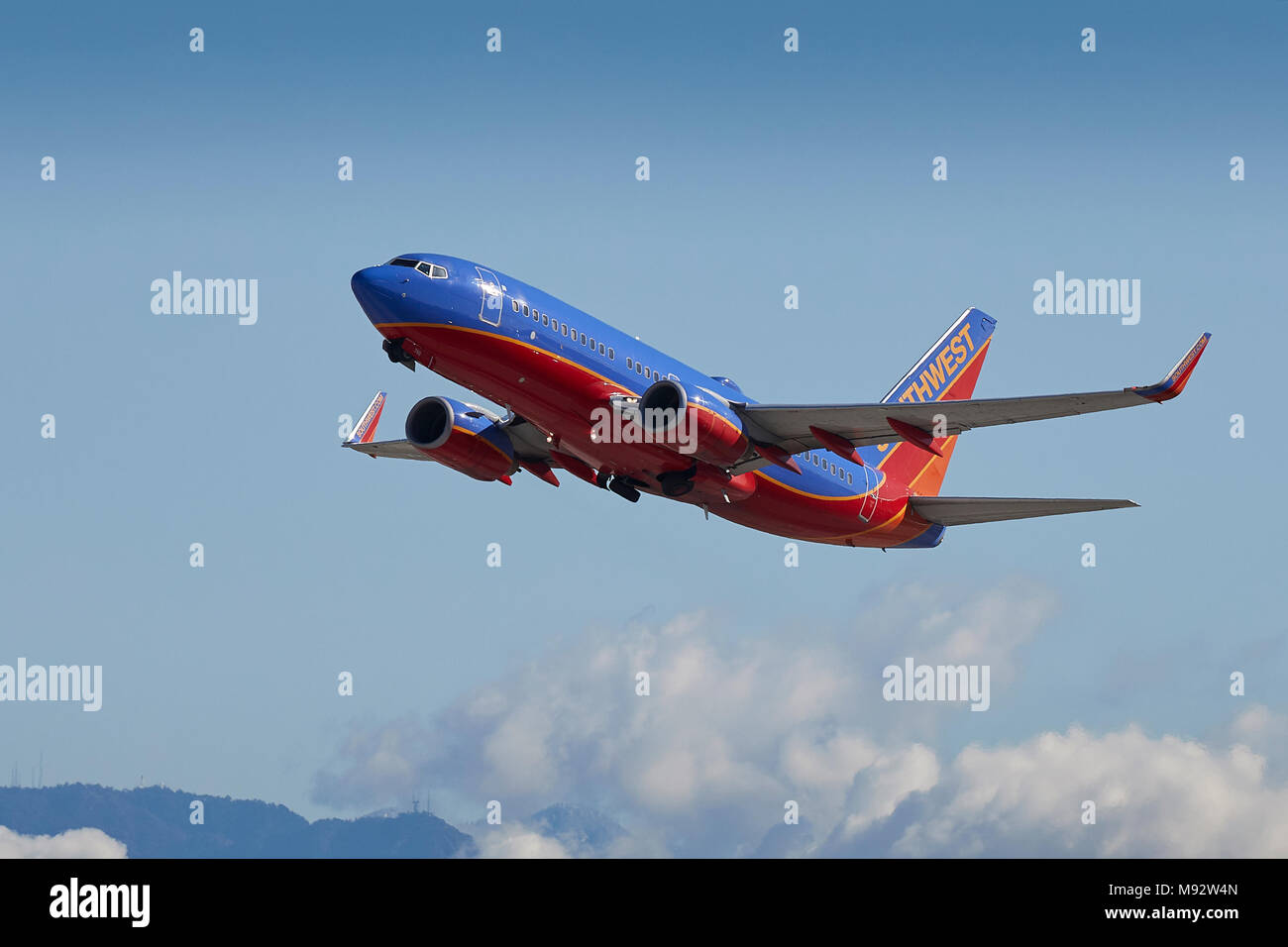 southwest airlines boeing 737 airliner taking off from los angeles