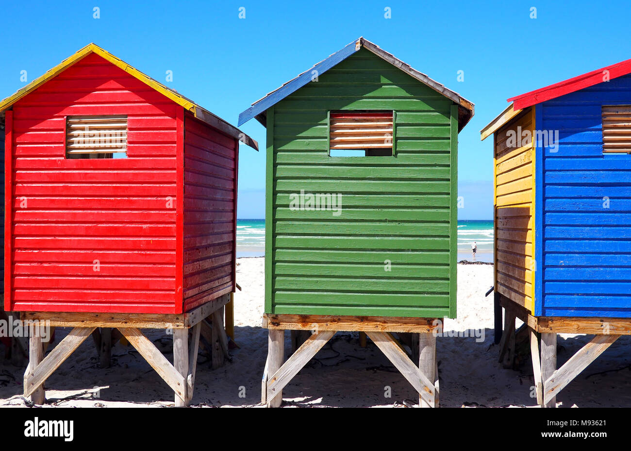 Colorful Beach Cabins Muizenberg South Stock Photos & Colorful Beach ...